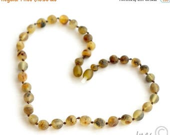 15% OFF Unpolished Baltic Amber Baby Teething Necklace Rounded Multicolor Beads