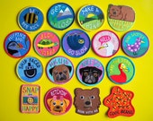 Five Iron On Patches - Mix & Match Multi Buy Discount, Embroidered Patches, Funny Patch, Animal Patch, Pug Patch, Dog Patch, Camera Patch