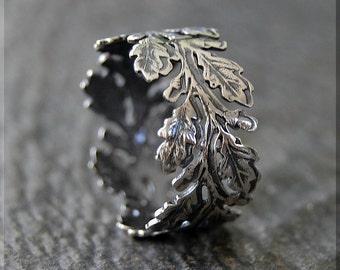 Oak Branch Eternity Ring, Sterling Silver Stacking Ring, Silver Oak Leaves Ring, Nature Ring, Leaves Eternity Stacking Ring, Delicate ring