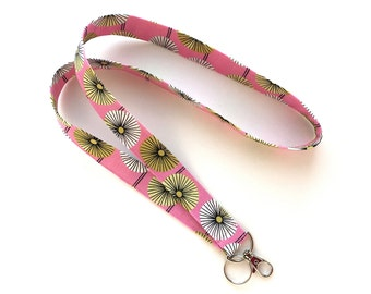Fabric Keychain Lanyard - Organic Cotton - ID Name Badge Holder - Pink, Green, White Design - Key Fob - Key Holder Lanyard - Teacher - Nurse