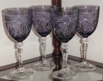 "Set 4 LUMINARC France Durand ""ANTIQUE"" Pattern Light Amethyst Purple Crystal Wine Goblets Glasses With Box"