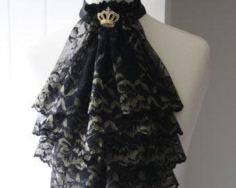 Black and gold lace jabot FREE UK SHIPPING
