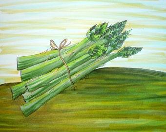 Vegetable art, Kitchen wall art, Original Pen and Ink drawing, asparagus with colorful details. 8x10 matted original art.