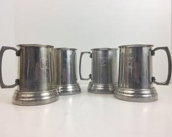 Vintage Playboy Aluminum Mugs Set of four Metal Beer Steins Tankards Metal Cups
