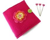Pink Felt Needle Case - Felt Needle Case - Sewing Needle Case - Hand Sewing Needle Case - Needle Book
