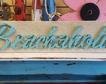 "Rusic ""Beachaholic"" Sign - vintage beach/coastal decor"