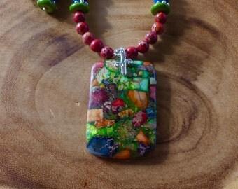 20 Inch Multi Colored Sea Sediment Jasper Pendant Necklace with Earrings