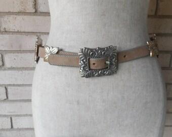 Vintage Brighton Taupe Leather Concho Belt 90s Southwestern Size Medium