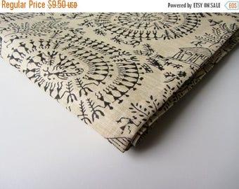ON SALE Black circle warli block printed on beige cotton silk India fabric nr 645 REMNANT