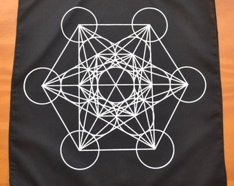 Metatron's Cube: Sacred Geometry Black Cotton Grid