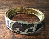 Enamel Clamper Bracelet Bangle Amethyst Lavender Green 1970s Mothers Day Vintage Jewelry SPRING SALE