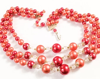 Red Lucite Bead Necklace, Multi Strand, Vintage Jewelry SPRING SALE