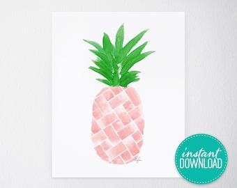 PRINTABLE Fashion Print - Beach Print, Pineapple, Blush, 8x10 DIY Wall Art, Island Citrus Pink