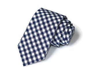 Navy Blue Gingham Necktie~Anniversary Gift~Wedding Tie~Mens Gift~Boys Necktie~Mens Necktie~Wedding~HoBo Ties~Mens Tie~