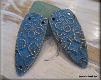 Handmade Solid Bronze Earring Components - Periwinkle Patina Pair!