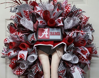 Alabama Wreath,Bama Cheerleader Wreath,Alabama Mesh Wreath,Roll Tide Wreath,Bama Door Wreath