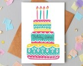Birthday Wishes greeting card. Birthday Cake Card. Happy Birthday. Female birthday. Modern birthday card. Contemporary greetings card