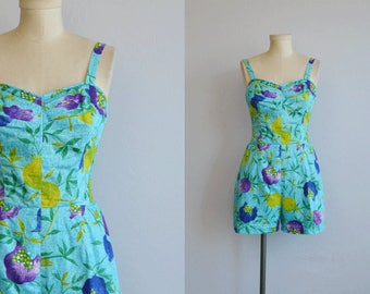 Vintage 50s Swimsuit / 1950s Novelty Fruit Flower Print Bathing Suit Play Suit / Kahala Made in Hawaii Turquoise Cobalt Lime