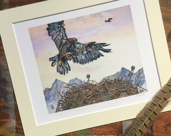Tolkien art - Great Eagles' Eyrie -  The Hobbit - Lord of the Rings - Limited edition Print