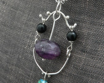 Framed Dark Purple Fluorite Necklace with Obsidian and Cloisonné Bead in Sterling Silver