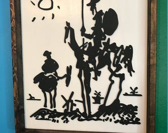 Picasso's Don Quixote Wood Cut Sign-17x20