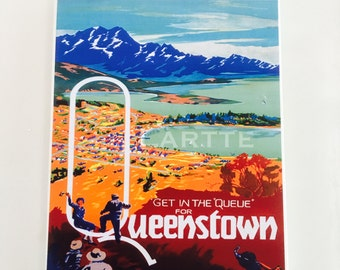 Wall Decor Vintage Travel Tile Queenstown Wall Tile
