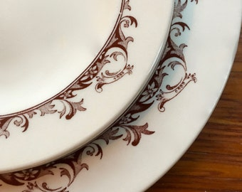 Dinner Plate, Brown Filigree Scroll Transferware, Curtis by Mayer China, 1950s