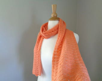 Melon Orange Scarf, Knit in Pure Cashmere, Long Lightweight Wrap Scarf, Scallop Lace Design, Luxury Womens Scarf, Tangerine