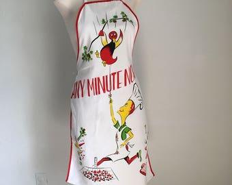 Vintage Apron, Any Minute Now, Vintage Graphic Apron, Vintage Print Linens, Vintage Kitchen
