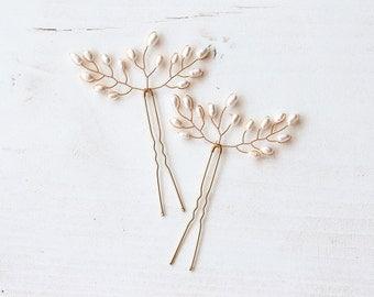 8212_Pearl hair pins, Gold bridal hair pins, Pearl wedding hair pins, Ivory hair accessory, Bridal pearls pin, Pearls bridal hair accessory