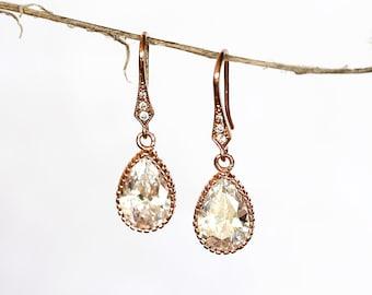641_Drop blush earrings CZ, Pink gold earrings, Cubic zirconia crystal earrings, Rose pink tear drop earrings, Jewelry bridal accessories