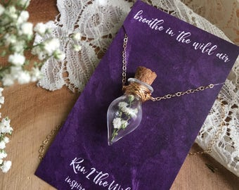 BREATHE a babies breath bottled teardrop necklace dried floral inspiration