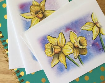 Yellow Daffodil Note Cards // Spring Flower Stationery // Blank Cards // Easter Note Card Set // Thank You Notes