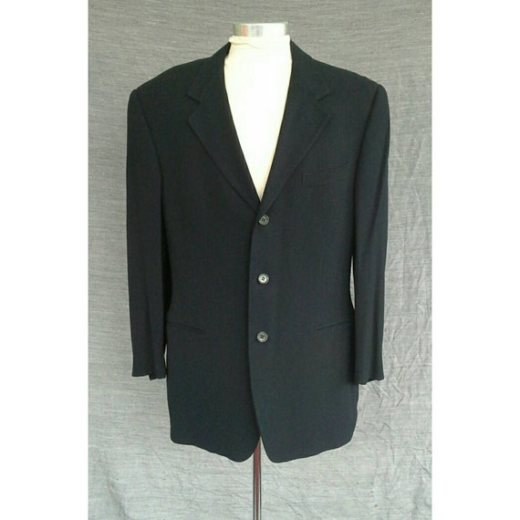 Vintage 1990s Romeo Gigli Italy Men's Navy Blue Wool Suit Jacket