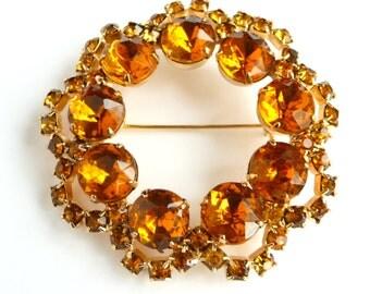 Vintage Amber Rhinestone Brooch Pin Wreath Circle Brooch Gold Tone Metal from TreasuresOfGrace