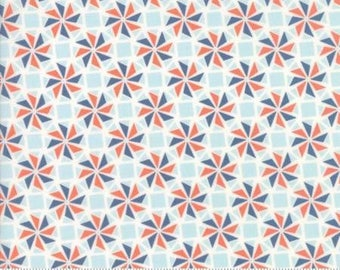 Early Bird by Kate Spain for Moda - Floral - Whirlaway - Denim Blue - 1/2 Yard Cotton Quilt Fabric