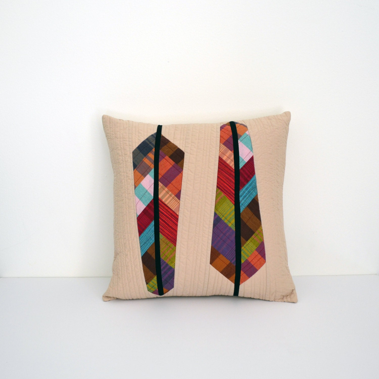 Quilted Pillow Cover Modern Pillow Feather Pillow Accent