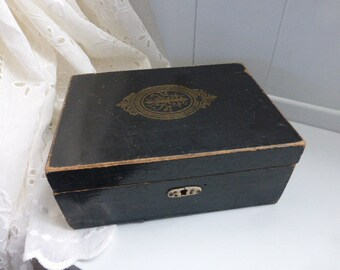 Victorian Antique French Wooden Jewelry Box Napoleon III Shabby Chic Faded Grandeur