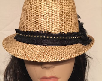 Straw Fedora with Silvertone Follow Your Heart