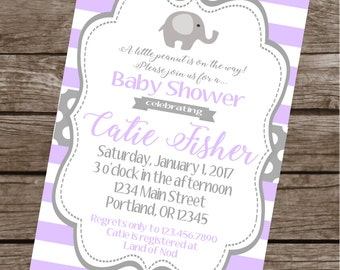 SWEET ELEPHANT Baby Shower or Happy Birthday Invitations Set of 12 {1 Dozen} Lavender Grey - Party Packs Available