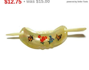SALE MOP hair slide, mother of pearl, hand painted or decals, ladybug flowers bird, painted hair clip, child's hair clip, bun holder, mid...