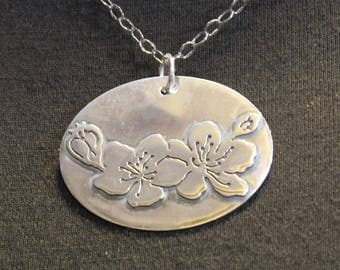 Cherry Blossoms in Sterling Silver - Hand-Cut Blossoms and Flower Buds - Springtime Necklace - Gift for Mom/Grandmother - Artisan Metalsmith