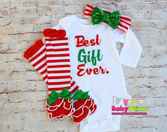 Baby girl Christmas outfit ,Best Gift Ever ,Baby's 1st Christmas Outfit - Baby Girl Christmas Set