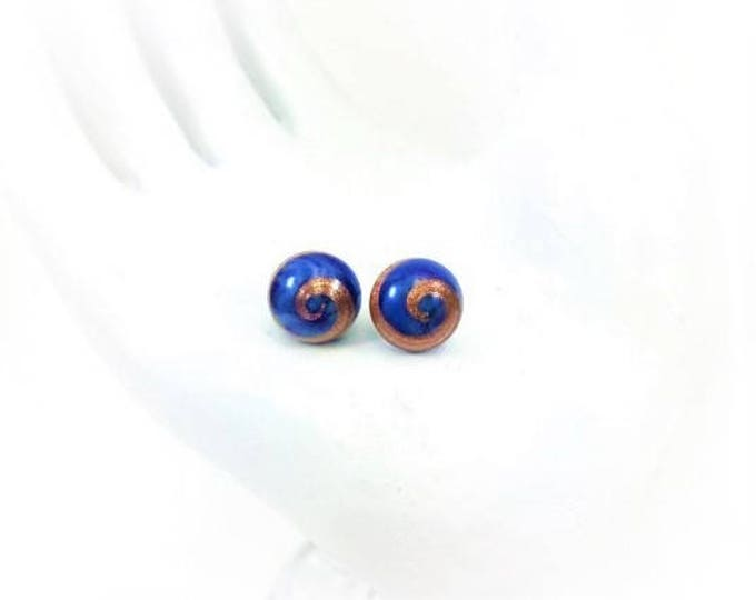 Vintage Japanese Glass Bead Stud Earrings Blue Gold Cabochon Hypoallergenic 8mm