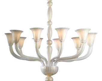 Murano Glass Chandelier- white and Gold