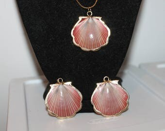 Vintage NAPIER Genuine Shell Set of Necklace and Earrings, Pierced Dangles
