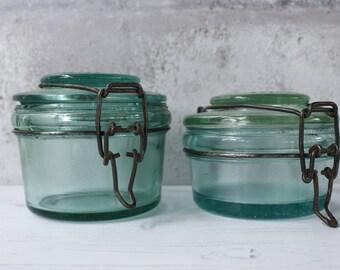 French Vintage Glass Jars..TWO Jars...Foie Gras Jars....Kilner Jars....Shabby Chic....Nordic Living....Rustic Kitchen