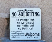 HUGE SALE No Soliciting Sign - Hand Painted Sign