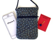Cell Phone Purse, Cross Body Hipster, Small Purse Gold Trimmed Blue Flowers