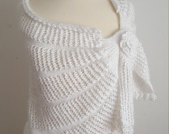 White Bridal Shawl, Crochet Shawl,Bridal Bolero, Handmade Cape, Bridal Wrap,  Bolero, Unique Shrug, white Wrap, Wedding cape
